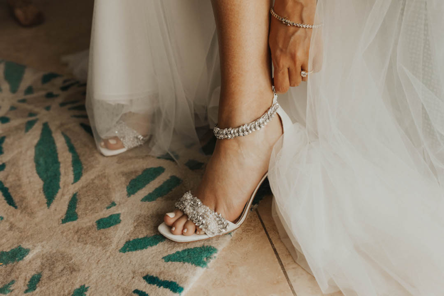 Open-toed wedding shoes