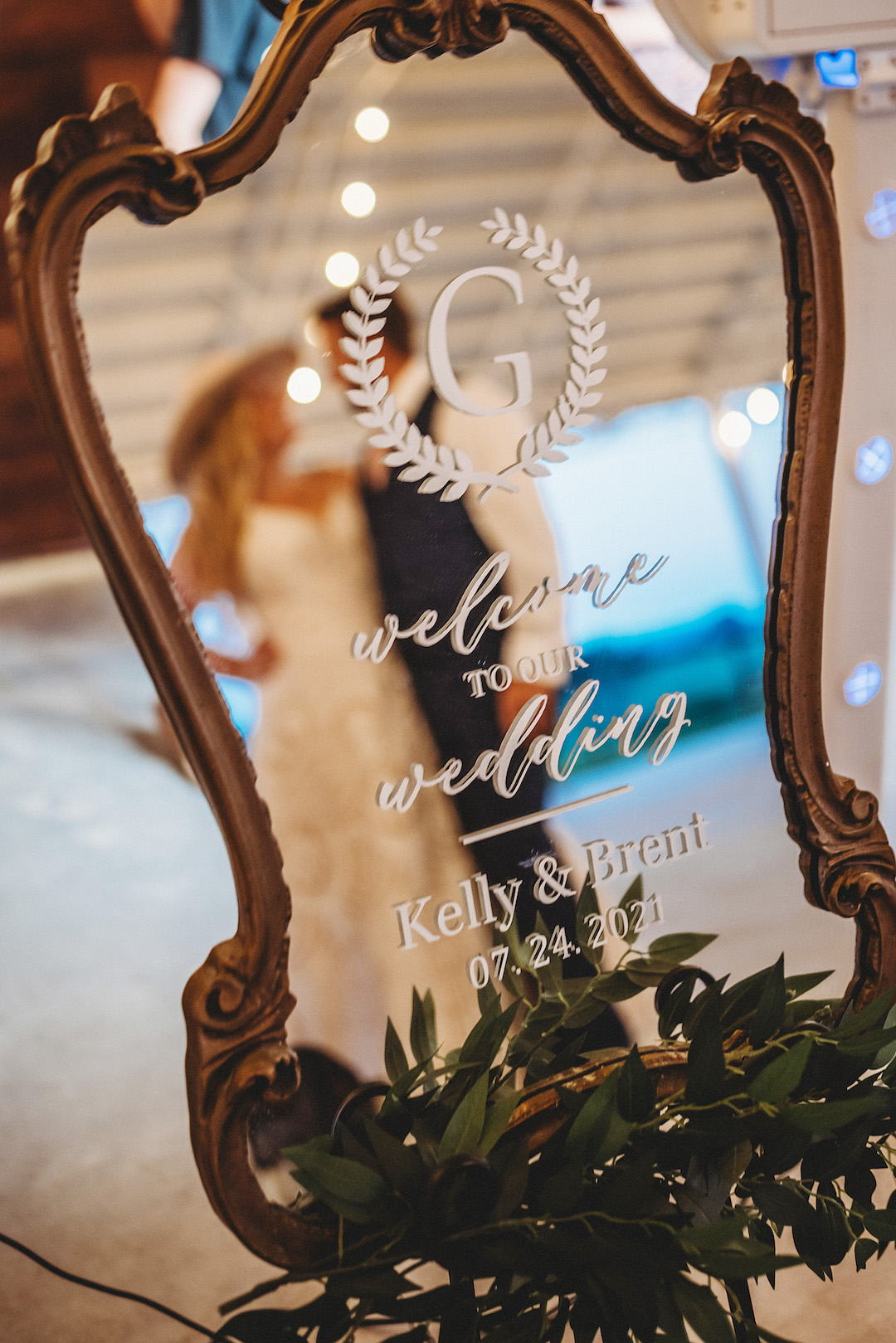 Personalized mirror wedding welcome sign