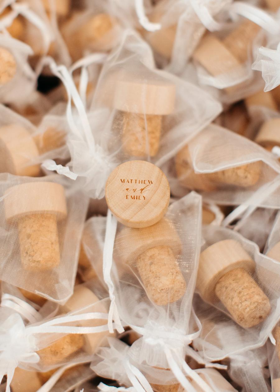 Custom wedding cork favors